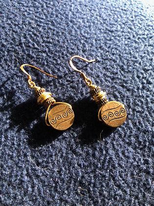 Steampunky Circular Copper Earrings