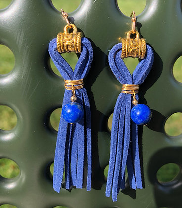 Royal Blue Faux Leather With Bead Accent On