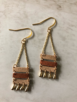 F'ing Awesome Faux Leather and Gold Duster Bead Earrings