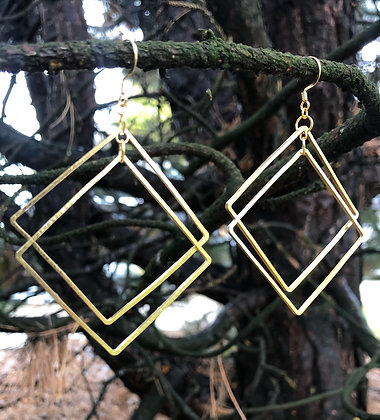 Mixed Metal Square Dangle