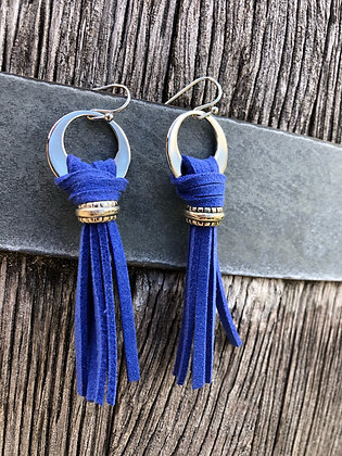 Royal Blue Leather Bohos With Silver Accents