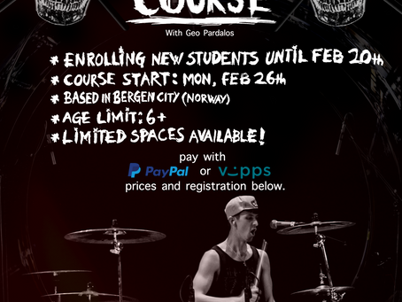 My drum course will be back in 2018 - LIMITED SPACES!
