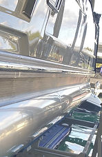 Pontoon boat shined up with mirror image