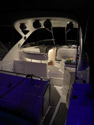 Cabin boat lights at night