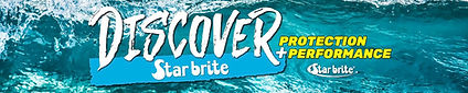 Discover-Starbrite Banner with a rush of water behind it