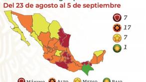 (一部訂正)【ヌエボ・レオン州など7州が赤信号に】8月23日からの経済活動再開信号情報と8月20日の感染状況