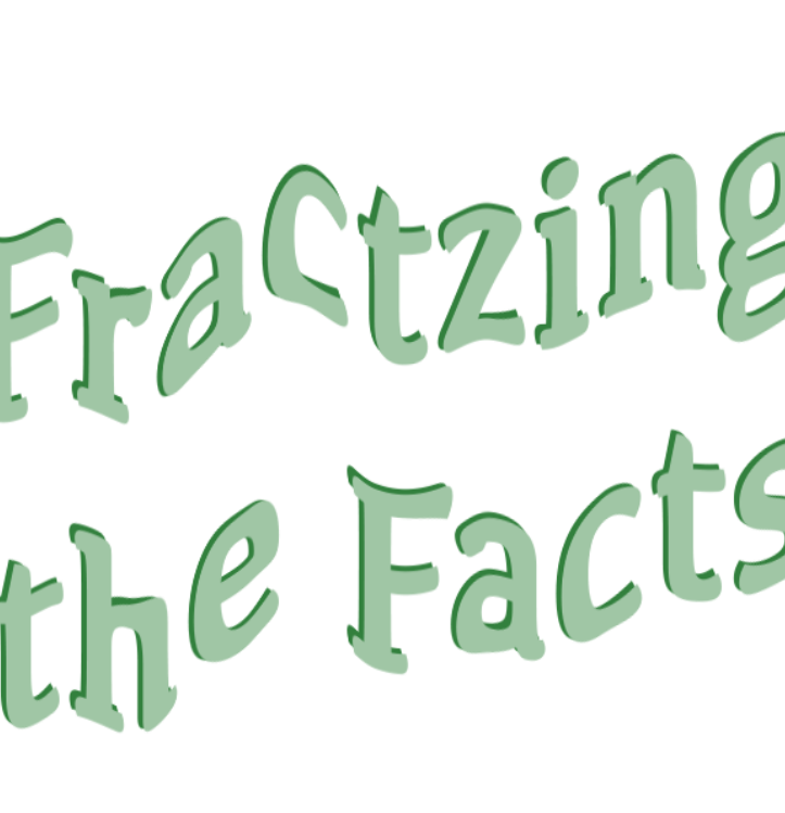 A looping animtion of light green text with a drop shadow reading: Fractzing the Facts.
