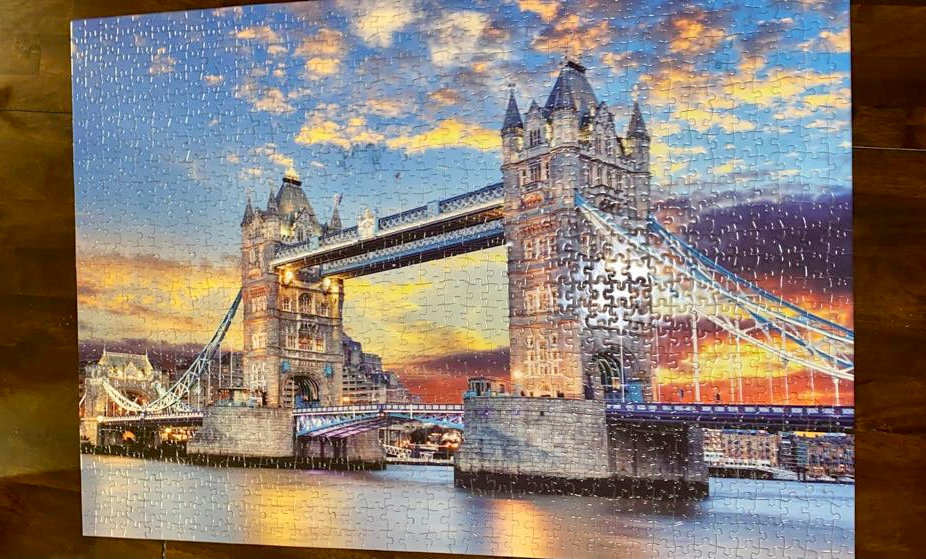 A puzzle of a bridge at sunset. Submission by Claudia Aguirre,