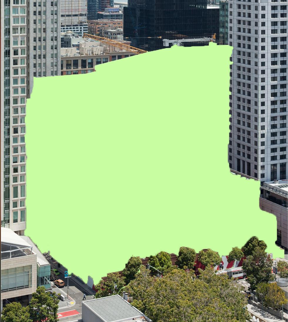 A photo of SFMOMA as a green silhouette. Photo by on-off.site.