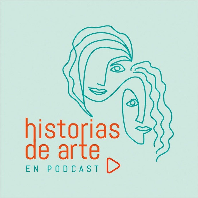 A light teal graphic with a line drawing of two female faces with the text 'historias de arte en podcast' in orange. Submission by Marta Gonzalez.