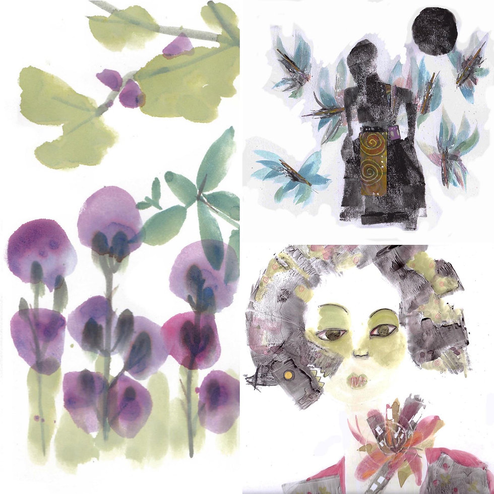 A watercolor of leaves, flowers, and a female face. Work by Marisol Leal Acosta.