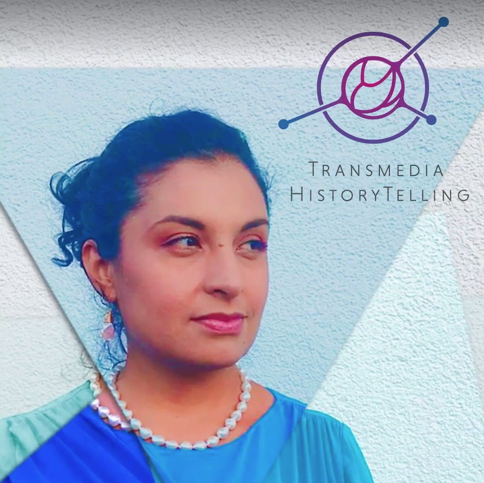 A promotional image for transmedia historytelling with an Indian woman in the frame. Submission by Karla L. Escobar H.