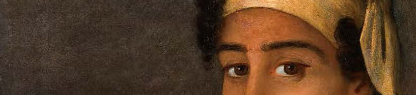A narrow cropped image of a painting of a Black woman's eyes.
