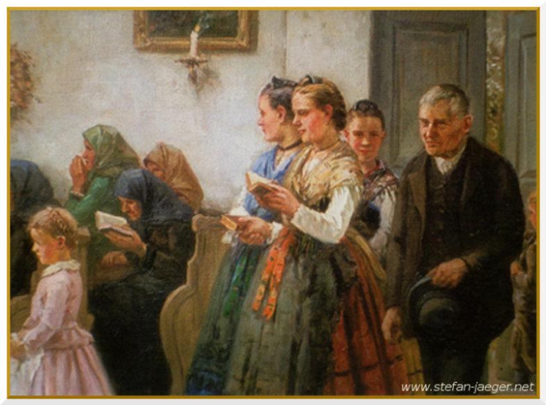 Stefan Jäger painting of Donauschwaben people entering church