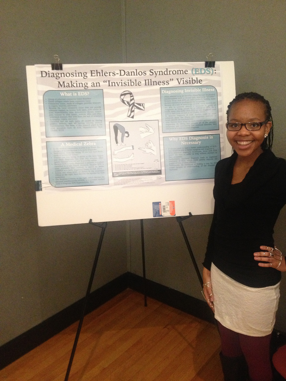 "My freshman year of college, I got the opportunity to raise EDS awareness by presenting my research project ""Diagnosing Ehlers-Danlos Syndrome: Making an 'Invisible Illness' Visible."""