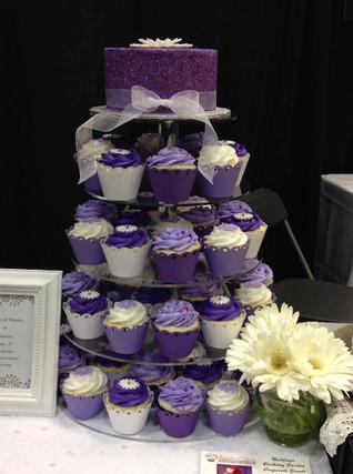 Purple Wedding Cake and Cupcake