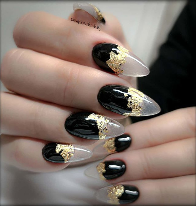 Black & Gold Cristal Clear✨✨✨ #nails #in
