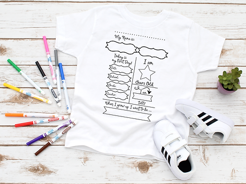 First Day of School Coloring Shirt