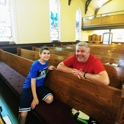 Father and son waiting for Worship Collective rehearsal and recording