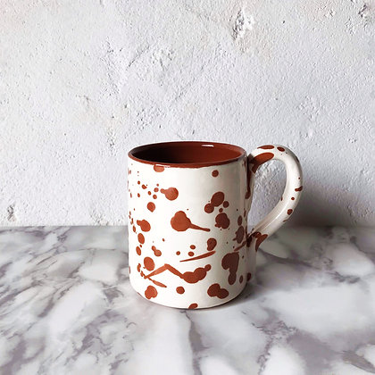 spatter mug - terracotta on white