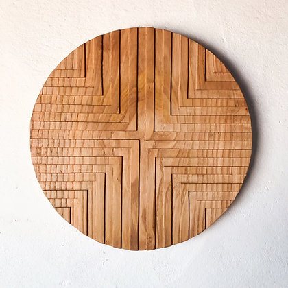 carved wood plaque - offset cross