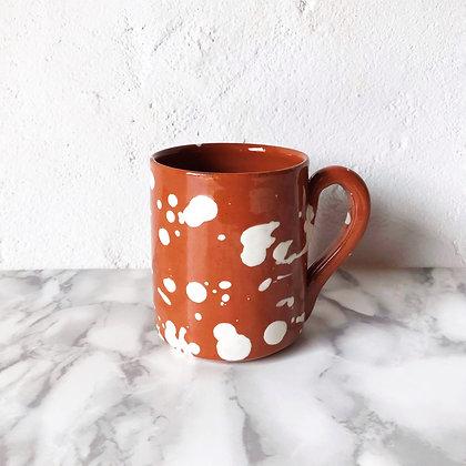 spatter mug - white on terracotta