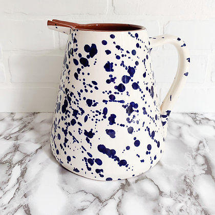 white salpico pitcher - blue dots