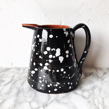 black salpico pitcher - white dots