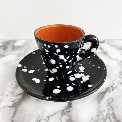 salpico tapered espresso cup + saucer - black with white dots