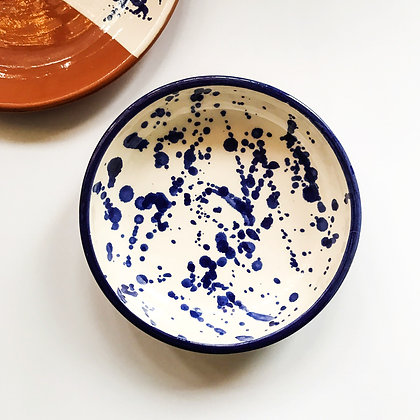 white salpico bowls - blue dots