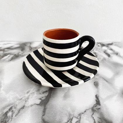 espresso cup + saucer - horizontal stripe