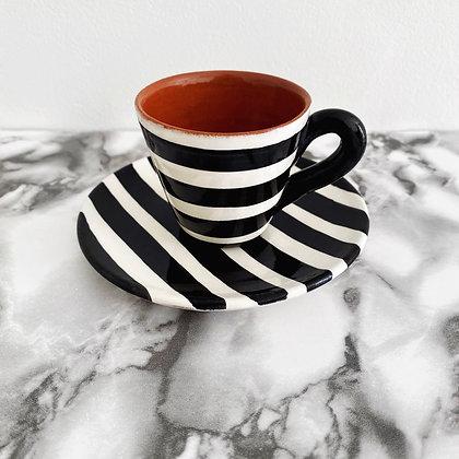 tapered espresso cup + saucer - horizontal stripe