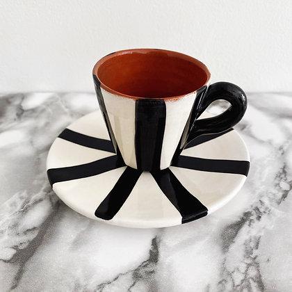 tapered espresso cup + saucer - vertical stripe
