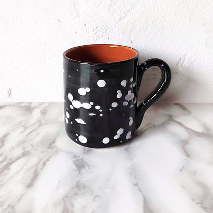 black salpico mug - white dots