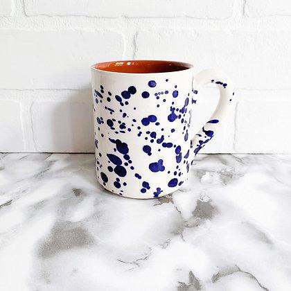 white salpico mug - blue dots
