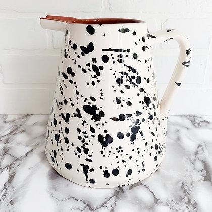 white salpico pitcher - black dots