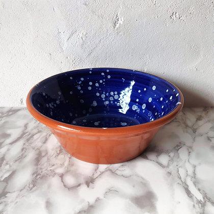 blue salpico salad bowl - white dots