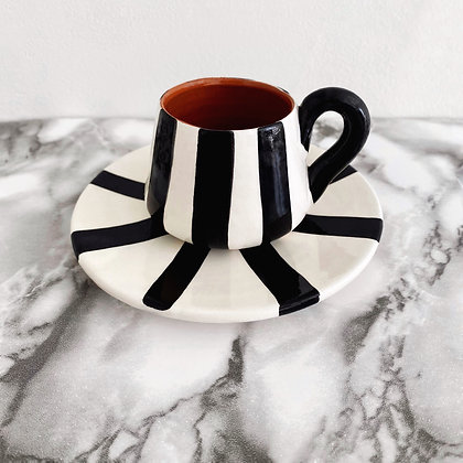 angled espresso cup + saucer - vertical stripe