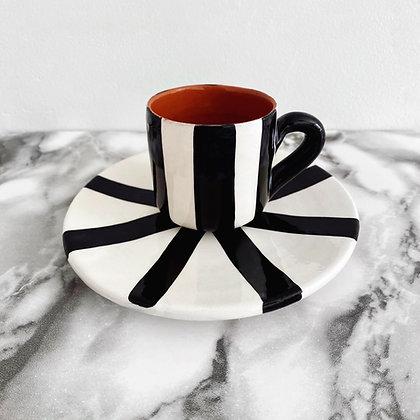 espresso cup + saucer - vertical stripe