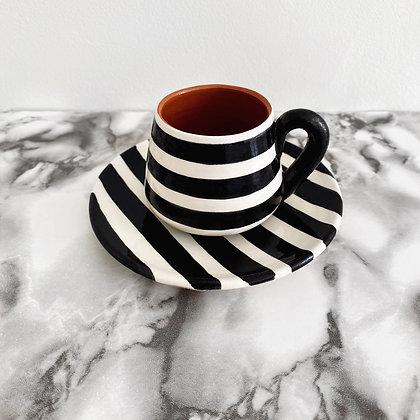 angled espresso cup + saucer - horizontal stripe