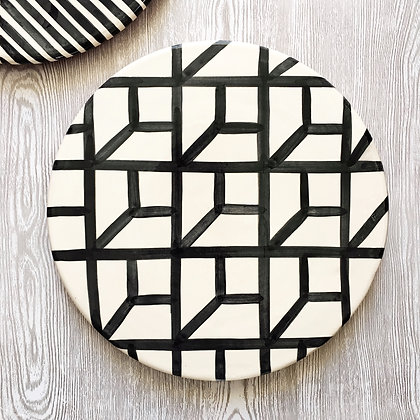 graphic platter - inverted cubes