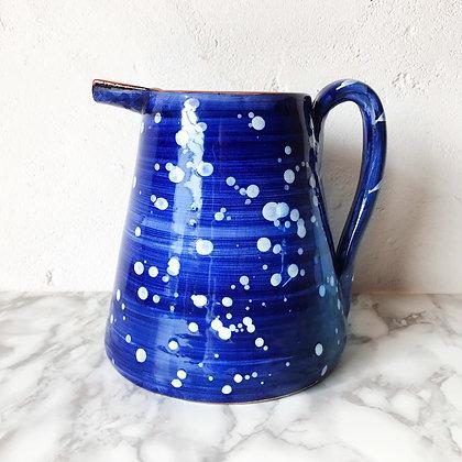 blue salpico pitcher - white dots