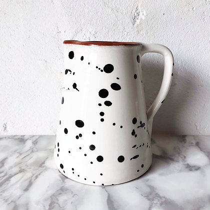 white salpico jug - black dots