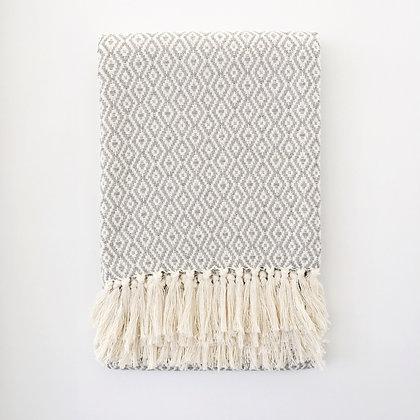 fringed cotton blanket - grey