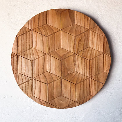 carved wood plaque - cubes