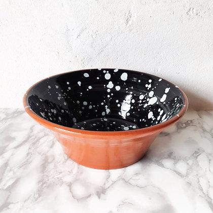 black salpico salad bowl - white dots