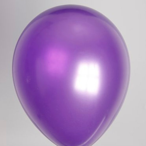 Ballon 30 cm metallic paars per 100 stuks