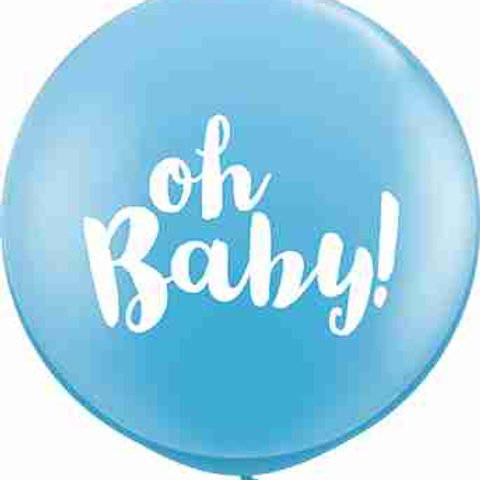 Oh Baby! Standard Pale Blue Latex Round 90cm per stuk