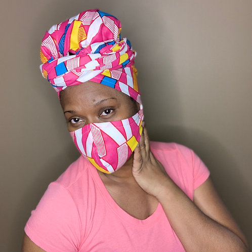 Headwrap and face mask combo