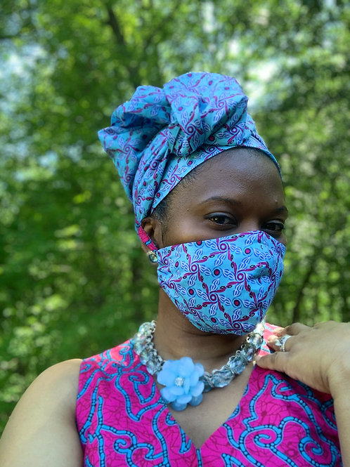 Headwrap and face mask set